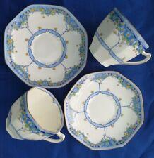 2 x Vintage 1930s Royal Doulton Deco Arvon Blue Tea Cup & Saucer