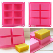 6-cavity Plain Basic Rectangle Silicone Mould for Homemade Craft Soap Mold US