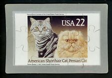 Novelty stamp Puzzle postcard Scott #2375 Cats American Shorthair Persian 1988
