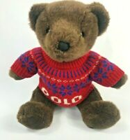 "Vintage Ralph Lauren ""Polo Sweater"" Stuffed Plush Brown 16"" Teddy Bear 2000"