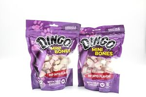 New! Dingo Mini Bones with Real Chicken Treats for Small Dogs  2-Bags - 22 Pk ea