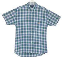 Duck Head Mens Size M Green Blue White Plaid Short Sleeve Button Down Shirt