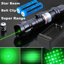 900Miles Green Laser Pointer Pen Rechargeable Lazer Star Beam 2in1+Charger+18650