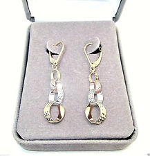 9CT HALLMARKED YELLOW, WHITE & ROSE GOLD DIAMOND CUT CIRCLES 42MM DROP EARRINGS