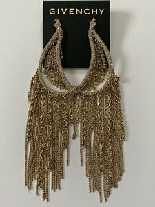NWT Givenchy Gold Crystal Chain Fringe Large Statement Chandelier Drop Earrings