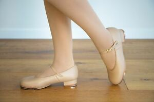TAP DANCE SHOES - TAN with Buckle From Brazendance  Sizes Child US9 to Adult US8