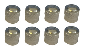 Short Silver Round High Quality Metal Metallic Dust Caps Pack of 8 Caps