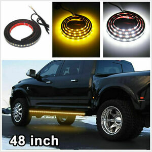 "Amber&White 120SMD 48""LED Strip Bar Turn Signal Light Running Parking Side Light"
