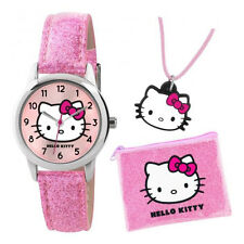 TNP   AHK001 Hello Kitty Girls Glitter Watch & Necklace Set in Purse