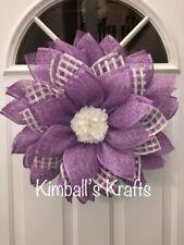 Purple Daisy Wreath, Spring Wreath, Summer, Easter, Home Decor, Burlap Flower