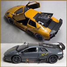 TWO Showcasts Lamborghini Murcielago  LP670-4 SV. HT COLORS YELLOW-GRAY UN-BOXED