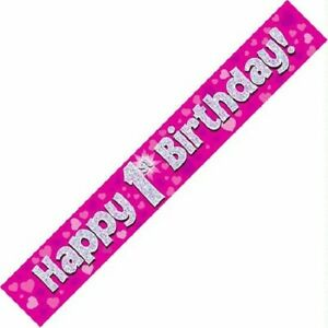 9ft Happy 1st First Birthday Pink Foil Banner Age 1 Baby Girl Party Decorations