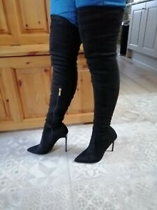 Black Faux Suede Thigh High Boots  Size UK 5