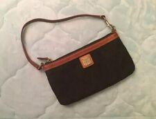 DOONEY & BOURKE Signature Leather Trim Phone Wristlet Clutch Bag Change Purse
