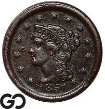 1851 Large Cent, Braided Hair, Early Collector Copper