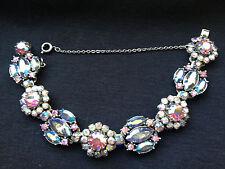 Stunning Vintage Vendome Pink Smoky AB Crystal Rhinestone Flower Bracelet Rare