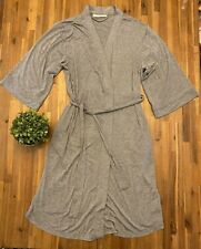 NORDSTROM LINGERIE Heathered Gray Soft Thin Open Front House Coat Lounge Robe S