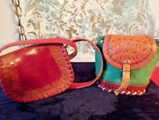 2 Vintage Small Tooled leather shoulder bags-1 Nicaragua