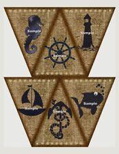 Nautical Hessian Look DIY Bunting Banner Flags Party Prop Birthday Wedding Craft