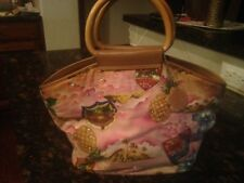 PINK Tropical LEATHER Trim RHINESTONE accent PURSE * pockets & zips inside * EUC