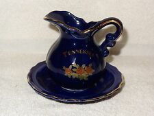 Vintage Porcelain Cobalt Blue Tennessee Souviner Bowl & Pitcher- Scotty- Japan