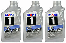 MOBIL 1 V-TWIN 20W-50 FULLY SYNTHETIC OIL FOR VTWIN MOTORCYCLES 3 QUARTS BOTTLES
