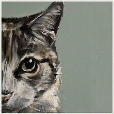 Beautiful Tabby Cat's Face Blank Card From Olivia Brown Painting Superb Quality