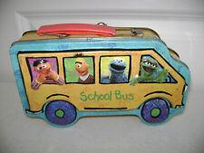 Sesame Street School Bus Tin Metal Lunch Misc Box 2005