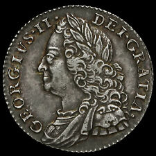 More details for 1758 george ii early milled silver sixpence, ef