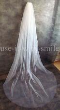 98'' Single Tier Ivory / White Chapel Length Wedding/Bridal Veil Cut Edge NEW