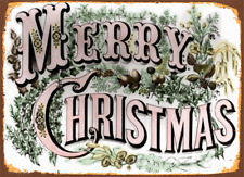 MERRY CHRISTMAS  METAL TIN SIGN POSTER WALL PLAQUE