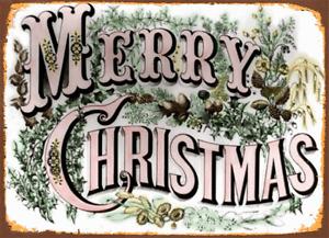 MERRY CHRISTMAS  METAL TIN SIGN POSTER WALL PLAQUE