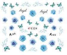 Nail Art Sticker 3D Decals Transfers Blue Flowers Butterflies (E324)