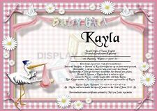 Peronsalised Gift - First Name Meaning Certificate It's A Girl - Welcoming Baby