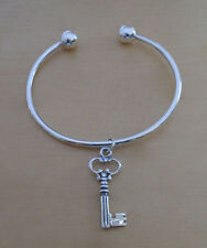 Sterling Silver Screw End Torque Bangle 63mm & 2.5mm Thick & Good Luck Key Charm