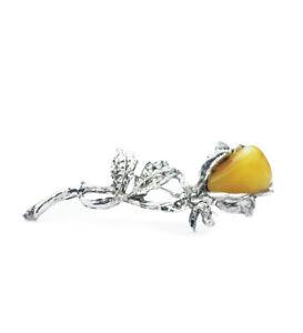 ROSE Flower Silver Plated Brooch Natural Baltic Amber Butterscotch