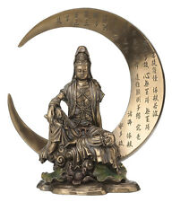 Guan Yin on Crescent Moon Statue Sculpture Figure Avalokiteshvara Quan Kuan Yin