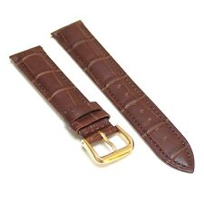 Brown Genuine Leather Watch Strap Band 18mm with Gold Buckle
