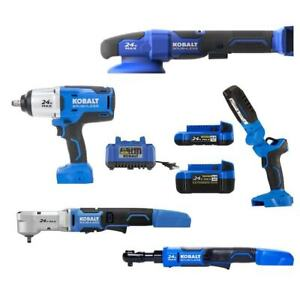 Kobalt 5-Tool 24-Volt Max Brushless Power Tool Combo Kit with Soft Rolling Case
