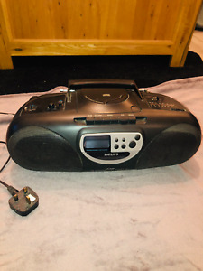 Philips AZ 1000 Boombox CD Cassette Tape Radio Player Working with Instructions