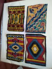Set Of 4 Vintage Tobacco Felt Native American Themed Indian Blanket Rug