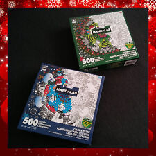 Coloring Jigsaw 2 Puzzle Lot 500 pcs Xmas MANDALAS Karmin Creations Made in USA