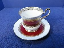 Red & Gold Queen's Pattern  Marquis Made In England  Bone China Cup/Saucer