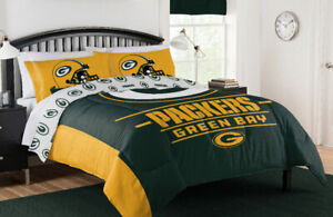 Green Bay Packers NFL Queen Comforter, Sheets, Pillow Shams (7 Piece Bed Set)
