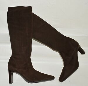 VALERIE STEVENS COLEY NEW SZ 9 M BROWN STRETCH SUEDE TALL KNEE HIGH BOOTS