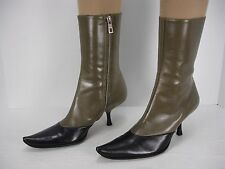 NEW BALLY TULLY 2 TONE SIDE ZIP POINTED TOE ANKLE BOOTS WOMEN'S 36.5 EU 6 USA
