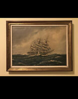 Large Vintage Oil Painting Reproduction Of Sailboat on Ocean Gold Framed