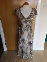 Ladies PER UNA Dress Size 14 Long Brown Leopard Print Party Evening Wedding