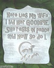 Wife tombstone mold plaster concrete Halloween plastic mold