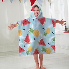 Kids Hooded Towel Poncho Tropical Fruit Design Childrens Bathrobe Swim Bath Sun